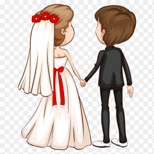 Cute couple in wedding dress cartoon character on transparent background PNG