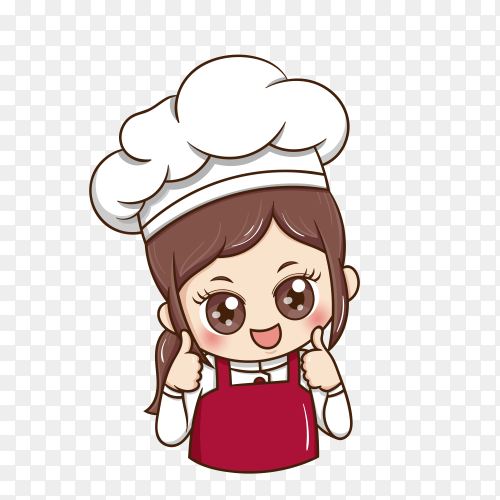 Cute female chef on transparent background PNG