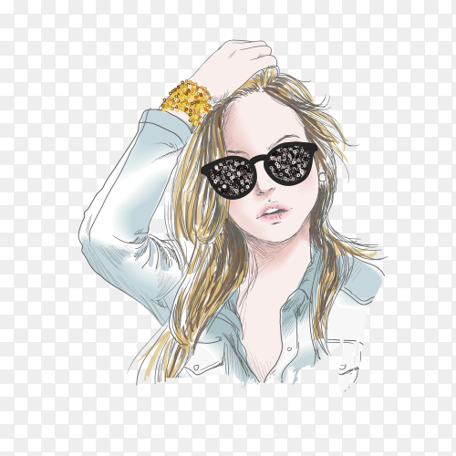 Cute girl wearing sunglasses on transparent background PNG