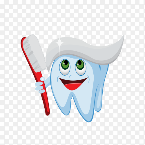 Cute happy smiling tooth with toothbrush and toothpaste hairstyle on transparent background PNG.png