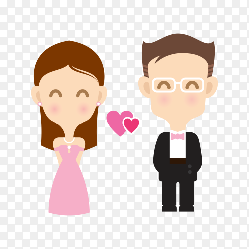 Cute wedding bride and groom couple on transparent background PNG