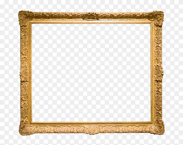 Decorative golden frame on transparent background PNG