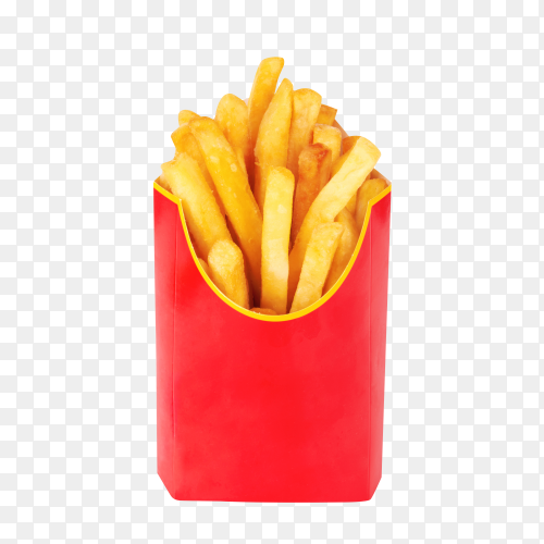 Delicious French fries in a red box isolated on transparent background PNG