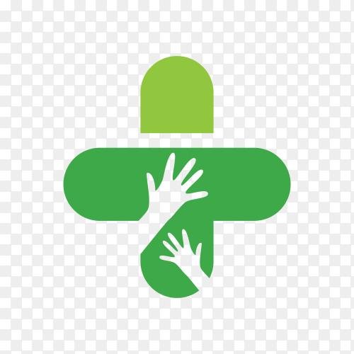 Dental care logo in green color on transparent background PNG