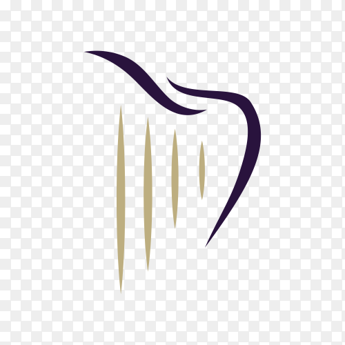 Dentist dental logo design with harp and tooth on transparent background PNG