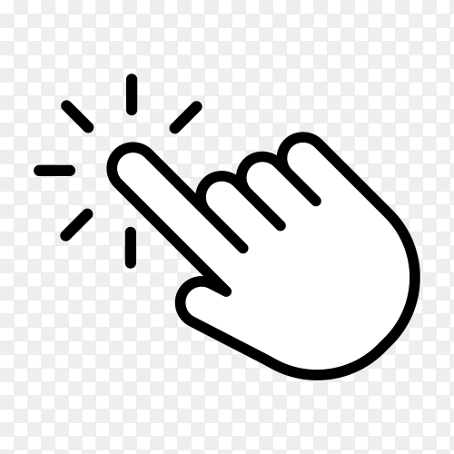Design of click icon with hand cursor. Hand is pushing the button. Pointer symbol on transparent background PNG