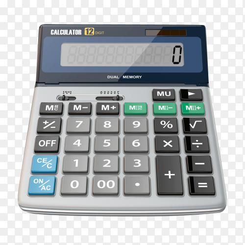 Digital calculator isolated on transparent background PNG