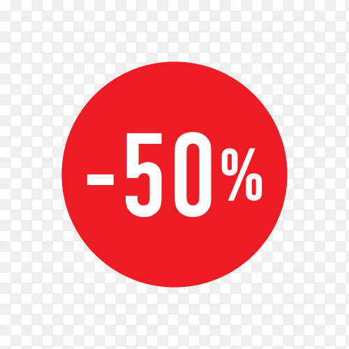 Discount tag template design for sale banner in red color on transparent background PNG