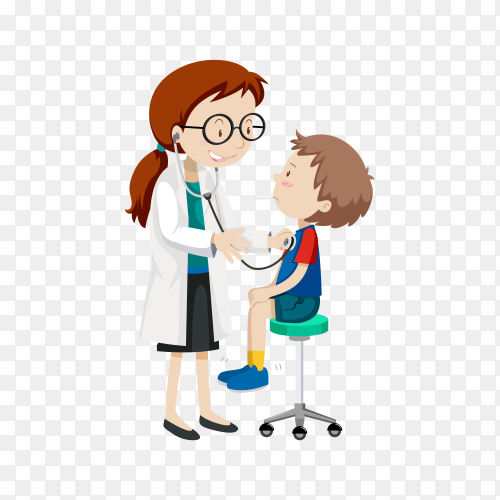 Doctor examining little boy illustration on transparent background PNG