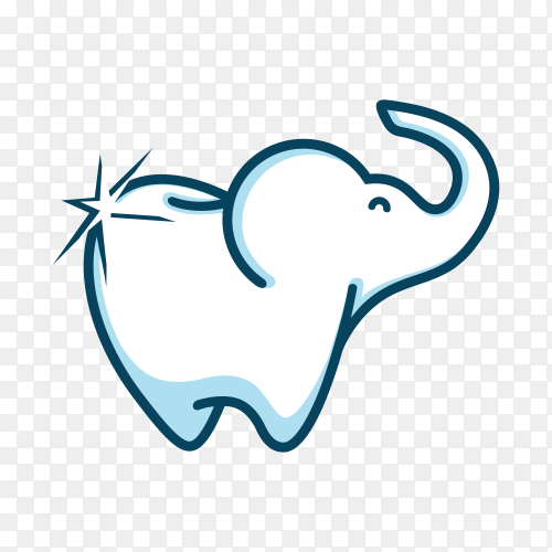 Elephant dental kid logo and icon element template on transparent background PNG