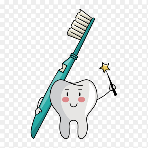 Fairy tooth holding toothbrush illustration on transparent background PNG