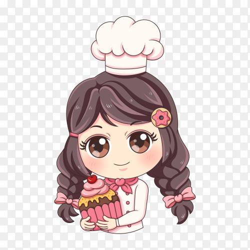 Female baker with flat design on transparent background PNG