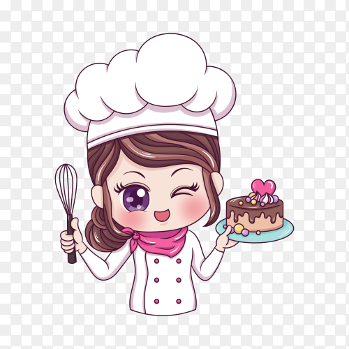 Female chef baker on transparent background PNG