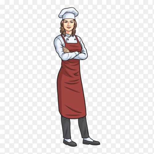 Female chef character on transparent background PNG