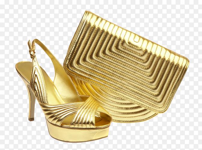 Female shoes and handbag on transparent background PNG