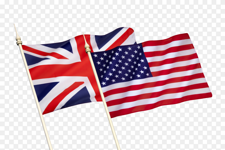 Flags of the united states and great Britain the special relationship between the united states on transparent background PNG