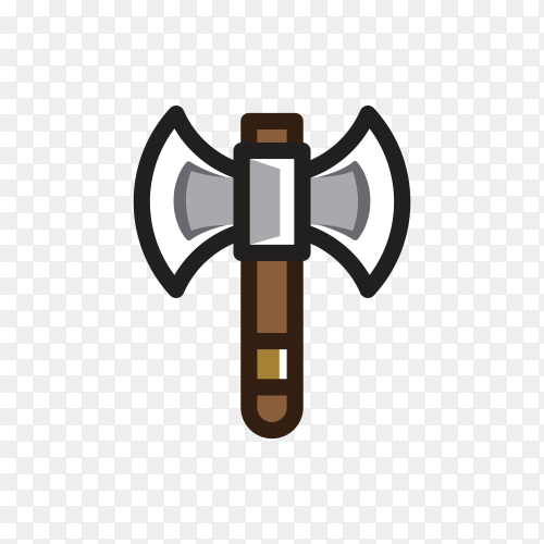 Flat design Axe for creating video game premium vector PNG