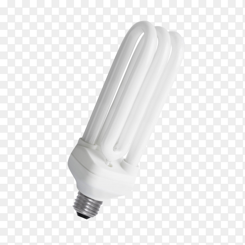 Fluorescent energy saving light bulb isolated on transparent background PNG