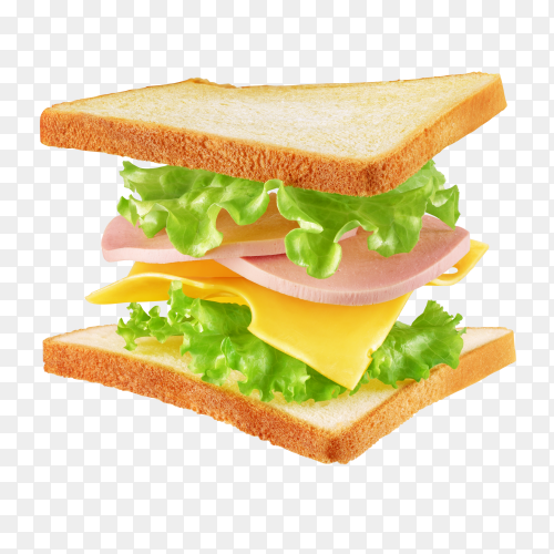 Flying square sandwich with toast, cheese and lettuce isolated on transparent background PNG
