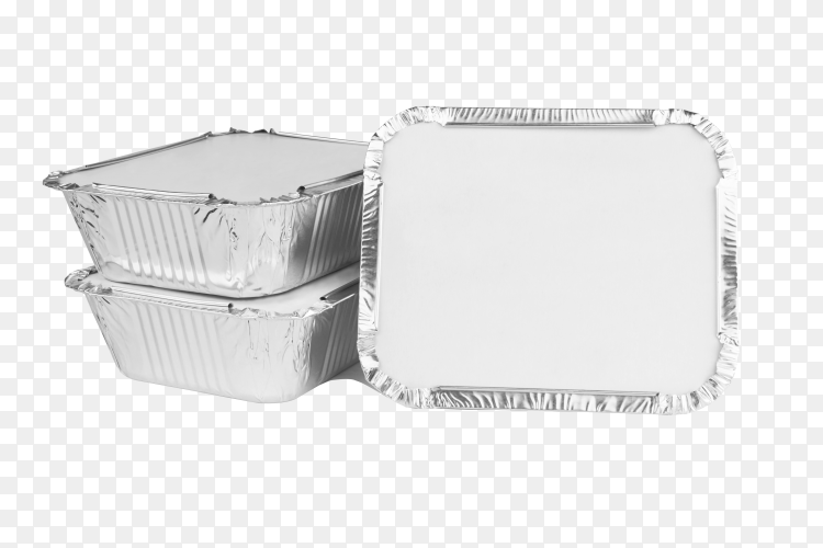 Foil food box with takeaway meal on transparent background PNG