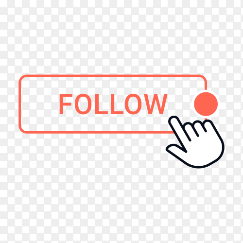 Follow button with hand mouse on transparent background PNG