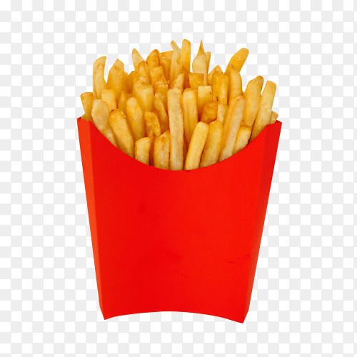 French fries in a red box isolated on transparent background PNG