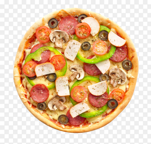 Fresh pizza with tomatoes, cheese and mushrooms on transparent background PNG