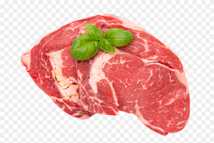 Fresh raw bio beef steak isolated on transparent background PNG