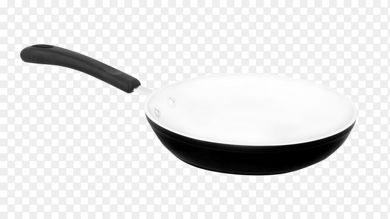 Frying pan isolated. Kitchen utensils for cooking food on transparent background PNG