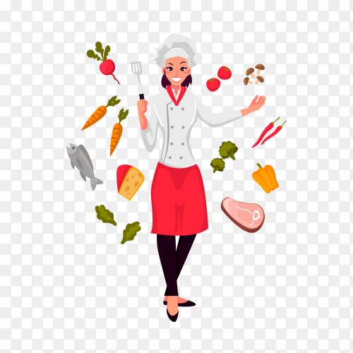 Funny illustration of chef with ingredients on transparent background PNG