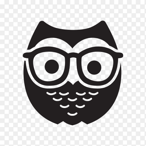 Geek Owl Logo Template on transparent background PNG