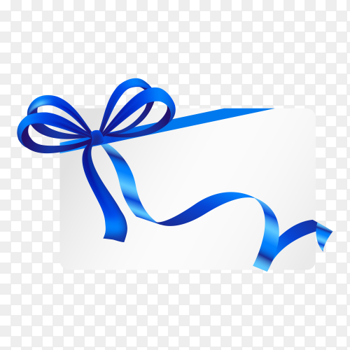 Gift card with ribbon and satin Blue bow on transparent PNG.png