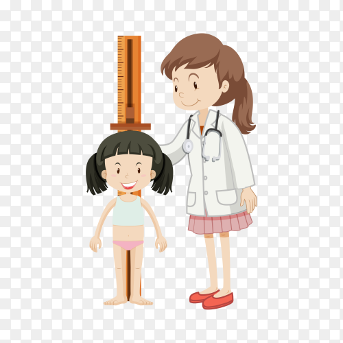 Girl On Medical Check-Up With Female Pediatrician Doctor Doing Physical Examination Measuring His Height on transparent background PNG