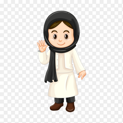 Girl in Kuwait costume on transparent background PNG