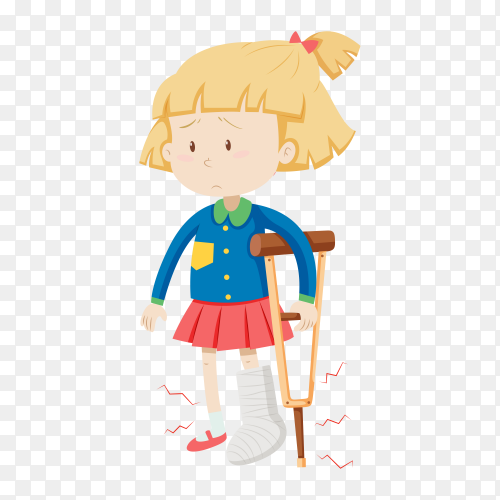 Girl with broken leg on transparent background PNG