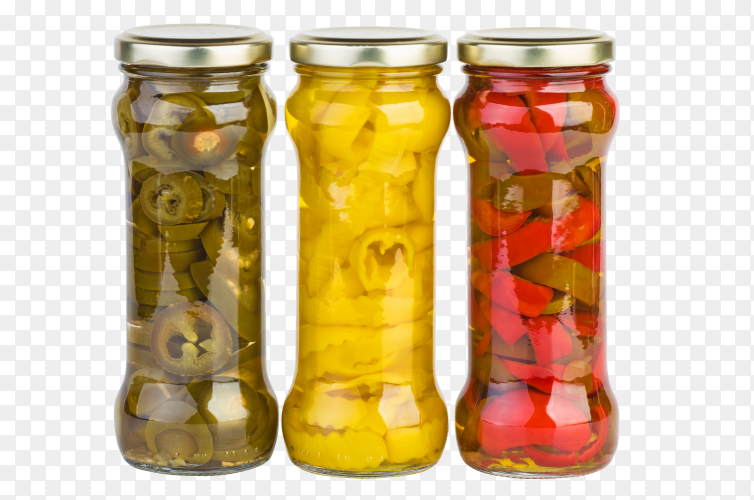 Glass jars with marinated red, yellow, and green pepper slices on transparent background PNG