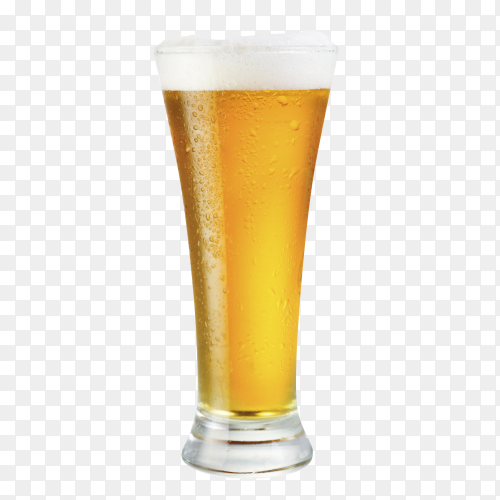 Glass of beer isolated on transparent background PNG