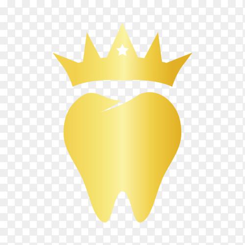 Golden dental care logo on transparent background PNG