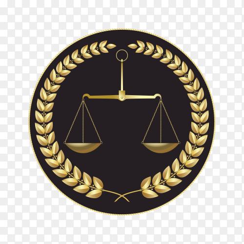 Golden law logo illustration on transparent background PNG