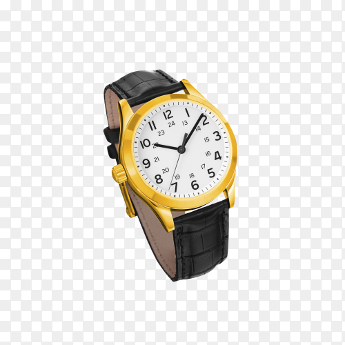 Golden watch isolated on transparent background PNG