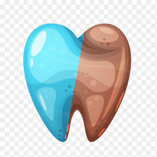 Good and bad tooth illustration on transparent background PNG