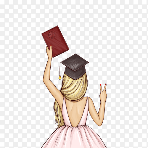 Graduate girl in graduation cap with diploma on transparent background PNG