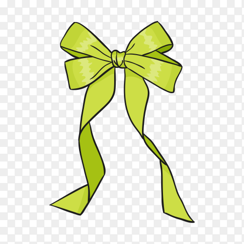 Green Bow ana Ribbon on transparent background PNG.png