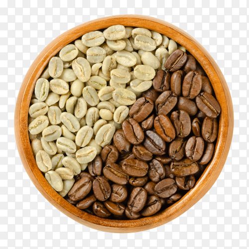 Green and roasted Arabia coffee beans in wooden bowl on transparent background PNG