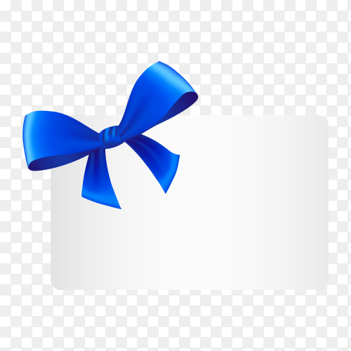 Greeting card with Blue satin ribbon and bow on transparent background PNG.png