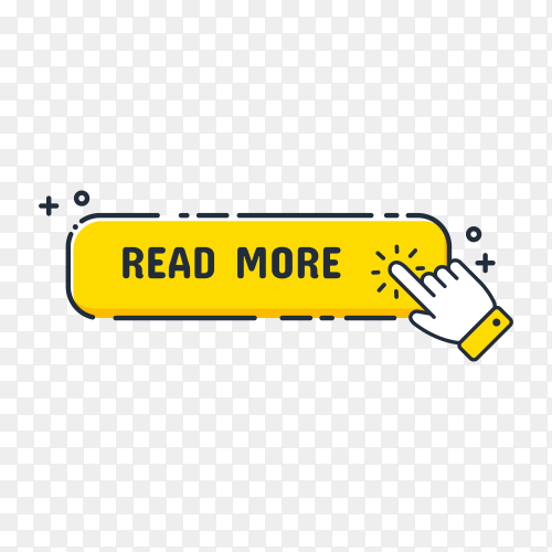 Hand cursor icon with yellow Read more button. Click here for links to websites on transparent background PNG