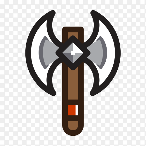 Hand drawn Axe for creating video game on transparent PNG