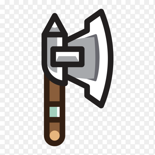 Hand drawn Axe isolated Clipart PNG