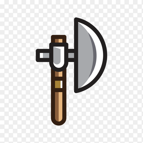 Hand drawn cartoon Axe for creating video game on transparent background PNG