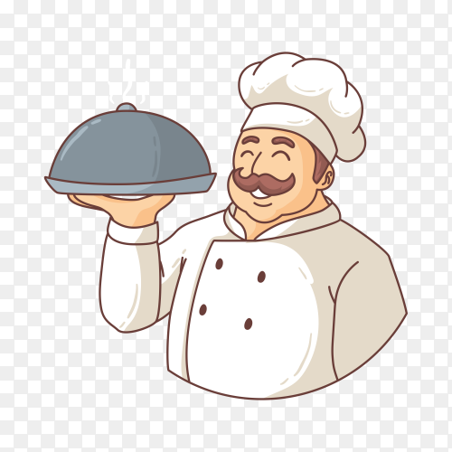 Hand drawn cartoon chef on transparent background PNG